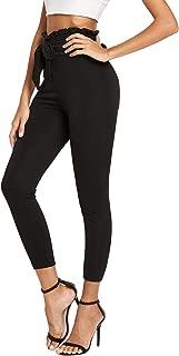 SweatyRocks Women's High Waist Stretchy Ruffle Tie Skinny Pants