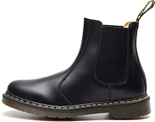 Dr. Martin unisex boots Black leather Chelsea boots couple wild short boots casual large size high-top shoes simple tooling ankle boots thick wear-resistant boots (Color : Black, Size : 45)