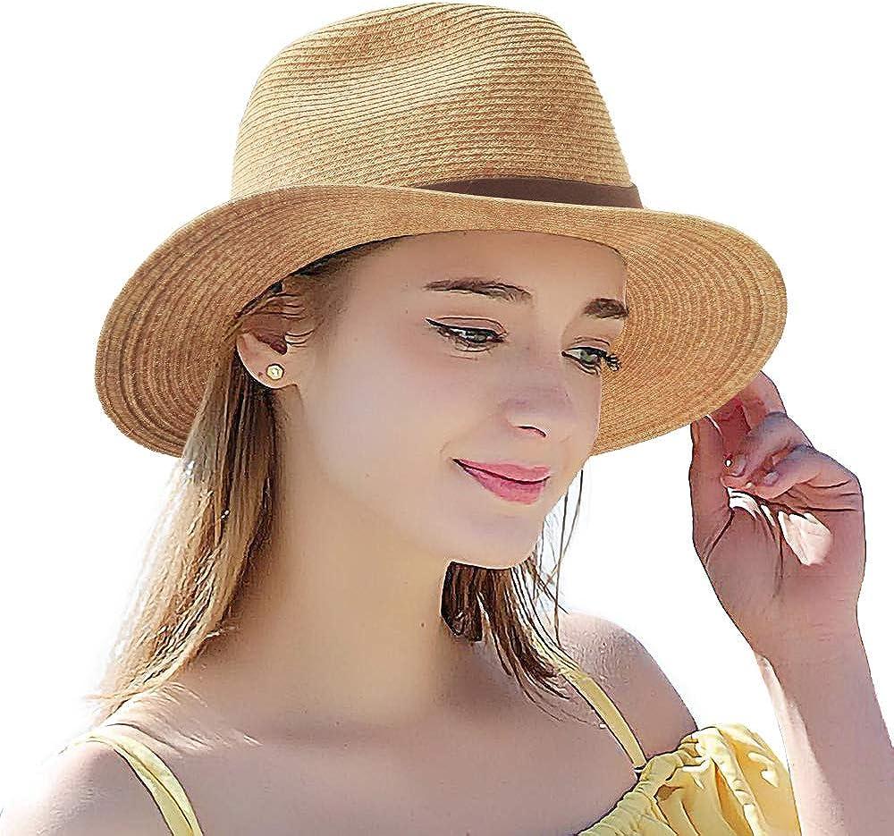 Summer Straw Hat for Women - UV Protection Classic Fedora Havana Hat Cute Beach Panama Wide Round Brim Sun Hats, Adjustable Structured Floppy Cuban Trilby Cap, Unisex Birthday Vacation Travel Gift