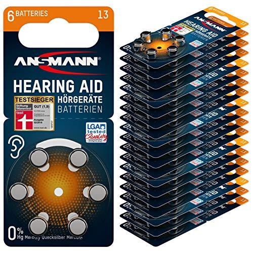 ANSMANN AG ANSMANN Hörgerätebatterien 13 (Orange 120 Stück) Typ 13 P13 PR48 ZL2 - Zink Luft 1,4V - Batterie für Hörgerät, Hörverstärker, Hörhilfe, 13 - Orange