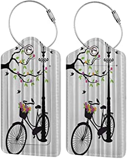 Modern luggage tag Colorful Artistic Vector Guitar in the Meadow With Birds and Flowers Music and Nature Theme Suitable for children and adults Multicolor W2.7 x L4.6