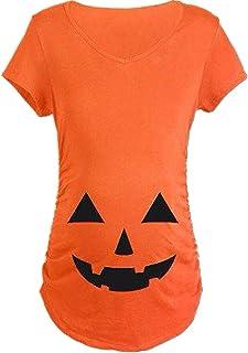 shiyiUP Pregnancy Halloween Shirts Funny Pregnant T Shirts Cute Pumpkin