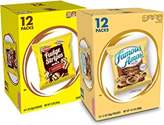 Keebler Fudge Stripes Minis & Famous Amos Cookies, Chocolate Chip, 24 Count