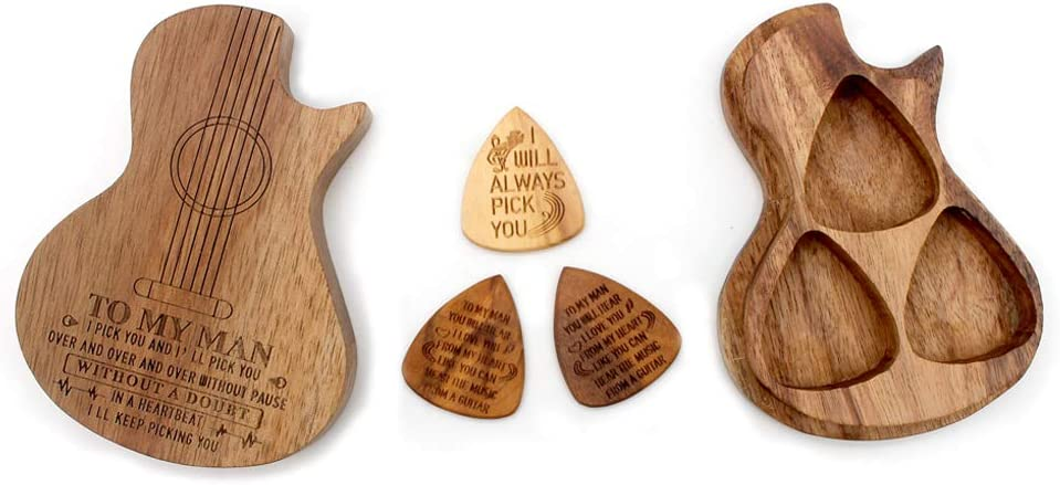 BiJun Caja de púas guitarra madera, mediador bajo eléctrico acústico, accesorios piezas guitarra instrumentos musicales, traje personalizado, colector de púas para cualquier mensaje (3 púas)