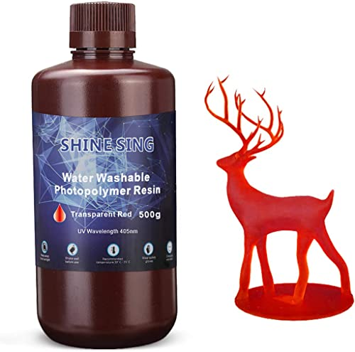 SHINE SING Water Washable Resin, UV-Curing Standard Photopolymer Resin SLA 3D Printer Resin for LCD 3D Printing 500Gr...