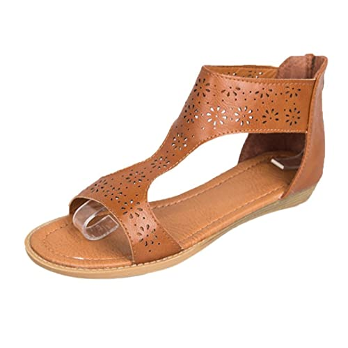 e1e79c36e18 Lolittas Ladies Leather Flat Platform Wedge Sandals Gladiator Greek  Style