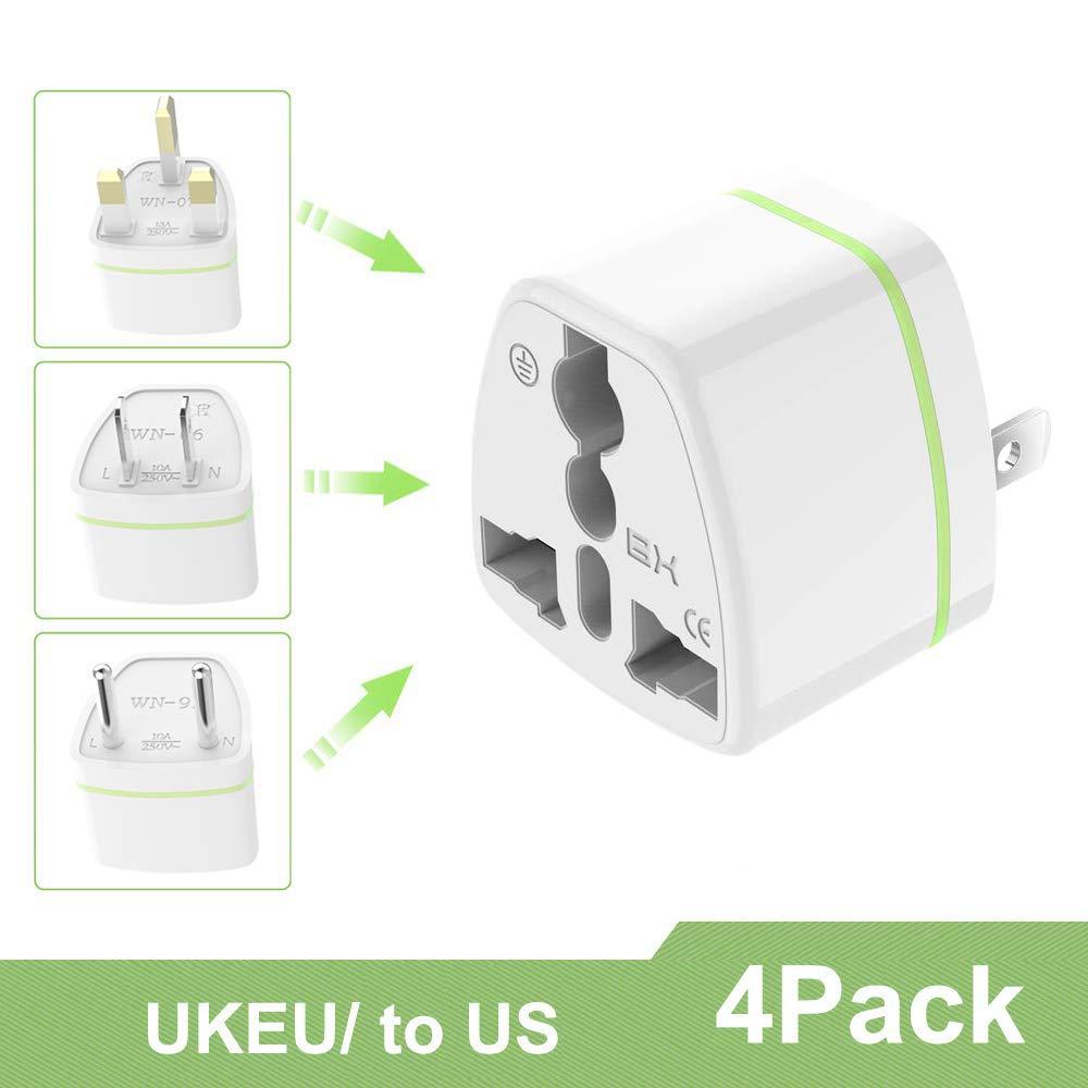 Luvfun [ 4 Unidades ] Universal Adaptador de Enchufe, Universal Adaptador Convertidor de Enchufe Viaje con Planos para EE.UU. /Japon/Cuba/Mexico/Tailandia/Canada/China etc– Blanco: Amazon.es: Electrónica
