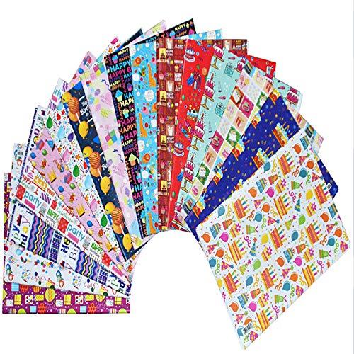 16 hojas de papel para envolver regalos, papel para envolver regalos de feliz cumpleaños, papel 100% reciclable, utilizado para cumpleaños, vacaciones fiestas, baby shower (16 patrones) (16)