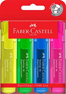 Faber-Castell Textliner 46 Ice Superfluorescent Highlighter, Assorted 4 Pack, (57-4802-04)