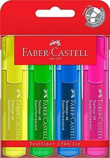 Faber-Castell Textliner 46 Ice Superfluorescent Highlighter, Assorted 4 Pack, (57-4802-04)