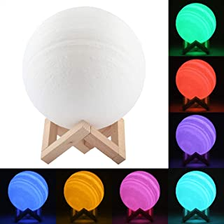 LIAOXIGANG USB Charging 7-Color Changing Energy-saving LED Night Light with Wooden Holder Base, 18cm Patted 3D Print Jupiter Lamp
