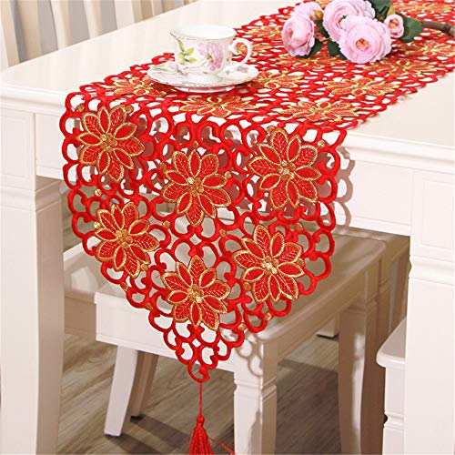 QZQZP Chemin De Table New European Classique Gland Table Polyester banderoles, 红色, 40 * 150cm