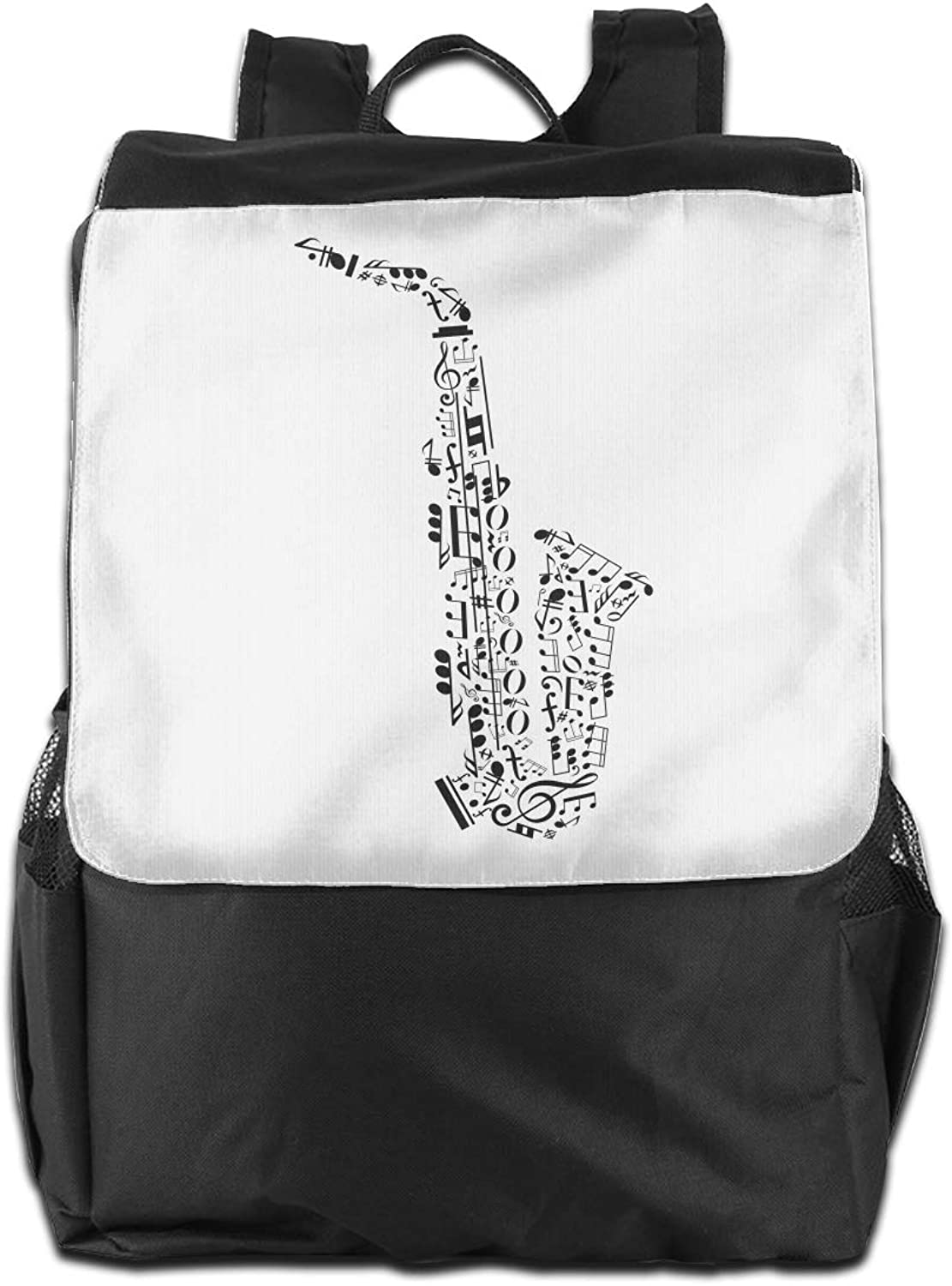 Sax Music Notes Printed Boys Backpack Lightweight Casual Shoulder Bag School Bookbags
