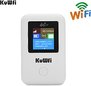 KuWFi 4G WiFi Router Travel Partner LTE Mobile Hotspot Car Mini Wi Fi Mini Wireless Pocket Wi-fi Router with Sim Card Slot Work with B1/B3/B5 Support Optus/Telstra/Virgin Mobile/Vodafone sim Card