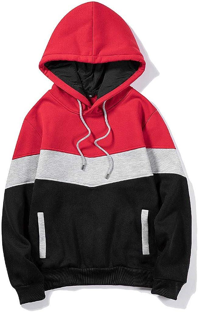 Hoodies Men Athletic Sport Sweaters Blend Fleece Hoodie with Pocket Contrast Raglan Long Sleeve Men's Sweatshirts