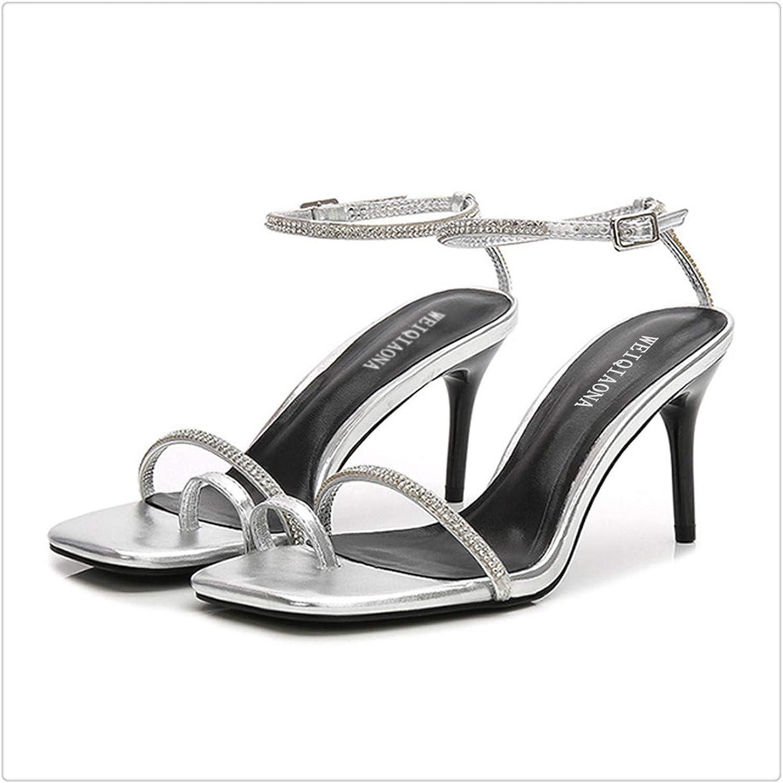 KKEPO& Square Open Toe High Heel Rhinestone Sandal Women Slippers Clip Toes Beach shoes