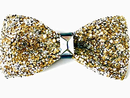 47IVYWOOD Premium Pre-tied Rhinestone Gold Bow Tie for Men, Women, Boys, Girls (gold)