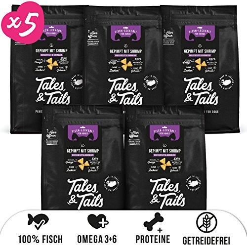 Tales & Tails® - Hunde Leckerlis aus 100% Fisch   Probepaket mit 5 Sorten Hundesnacks   Natürlich, Zuckerfrei, Getreidefrei, reich an Omega 3   Je 1x Dorsch, Lachs, Shrimp, Kabeljau, Barsch   5 Tüten
