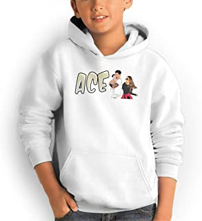 Youth Pocket Hooded Sweatshirt ACE Family Oversized Classic Print Casual White