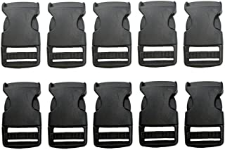 Beaulegan Plastic Buckles 1 Inch (Pack of 10)- Quick Side Release for Luggage Straps, Pet Collar, Backpack Repairing - One Adjustable End, Black