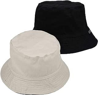 Faleto Cotton Reversible Bucket Hat Boonie Hat Wide Brim Fishing Hat Casual Plain Cap