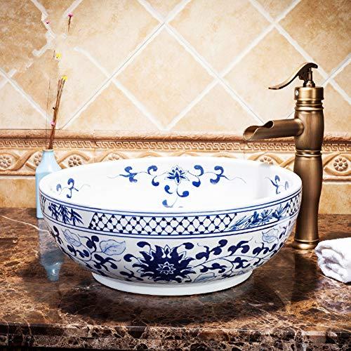 RTTGOR Blau Und Weiß Jingdezhen Fabrik direkt Kunst Hand bemalt Keramik waschbecken eitelkeit Porzellan waschbecken