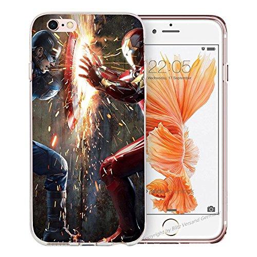 Handyhülle Helden Avengers Marvel kompatibel für Samsung Galaxy A3 2016 Iron Man VS Captain America Schutz Hülle Case Bumper transparent rund um Schutz Cartoon M9