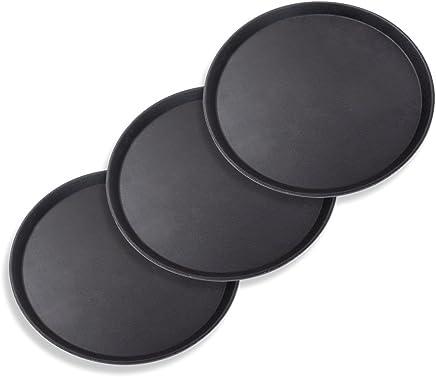 Preisvergleich für Schramm® 3 Stück Gastro Tablett 35x2cm rund schwarz 3er Pack mit Anti Rutsch Beschichtung hoher Rand Kellnertablett Kellner Gastro Tablett Tabletts Serviertablett Gläsertablett