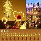 [10 Piezas] Luces para Botellas, Zorara 2m 20 LEDs Lámparas de Botellas con Pilas, Luz de Botella para Decoración de Boda, DIY Fiesta, Celebración, Blanco Cálido [Clase de eficiencia energética A]