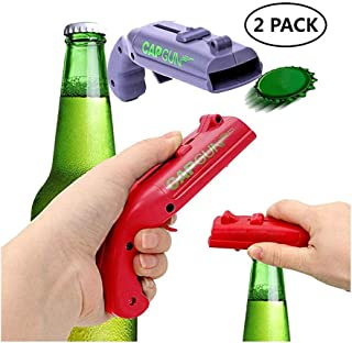 Cap Gun Beer Bottle Opener Launcher Shooter, Wisfun Creative Bottle Cap Launcher Shooter Bottle Opener for Home Bar Party Drinking Game Interesting - Shoots Over 5 Meters (2 Pack, Red and Grey)
