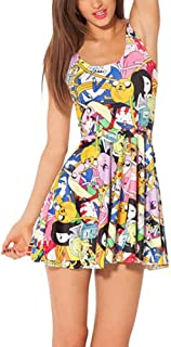 New Mini Dress Senza Ladies Cartoon Adventure Time Maniche Mode di Marca con Scollo A Pieghe A Pieghe Abiti A Pieghe Abiti...