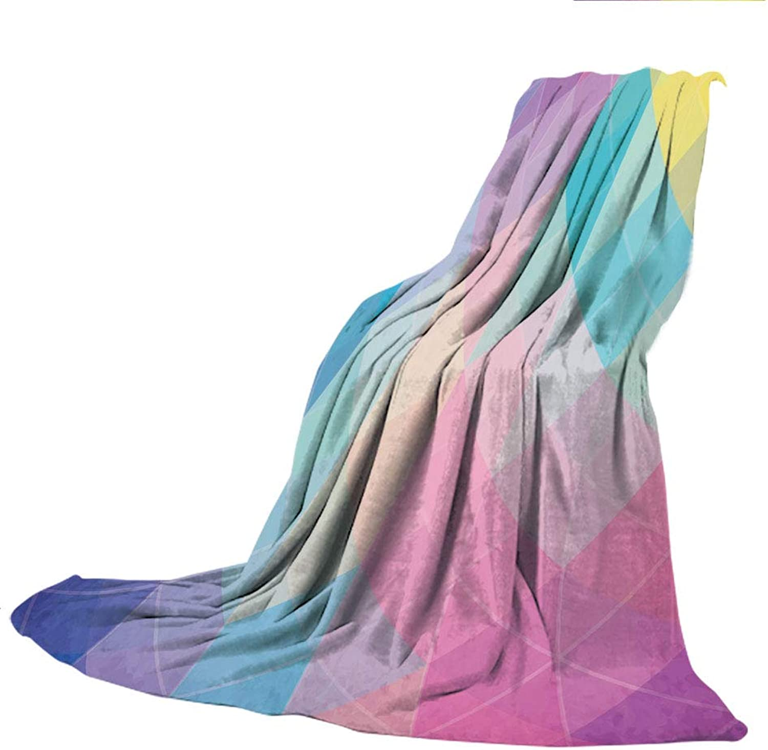 SCOCICI Blanket for Bed Couch Chair Fall Winter Spring Living Room,Indie,Abstract Triangles Classical Diamond Line Pattern in Dreamy colors Artistic Modern Decorative,Multicolor,59.06  W x 86.62  H