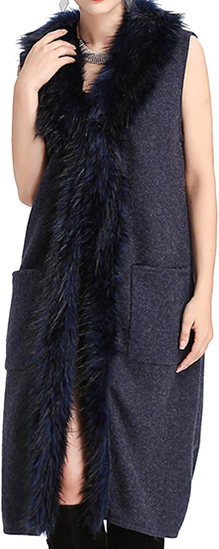 Helan Women's Luxury Style Faux Raccoon Fur Long Vest Cloak Coat Shawl
