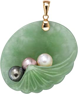 14K Yellow Gold Genuine Green Jade and Cultured Freshwater Pearl Shell Shaped Charm Pendant (37mm)