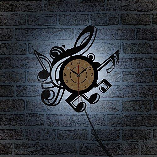 HHKLSF Sala De Estar De La Novedad Reloj De Pared De Vinilo Retro Vintage Temas Musicales CD Grabar Reloj Reloj Grande 3D Decoración para El Hogar Reloj 7 Luz De Color
