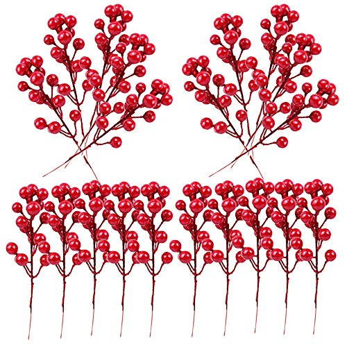 20 Pack Fake Red Berry Stems,Artificial Red Berry,7.8 Inch Red Berries for Christmas Tree Decorations,DIY Crafts,Wedding