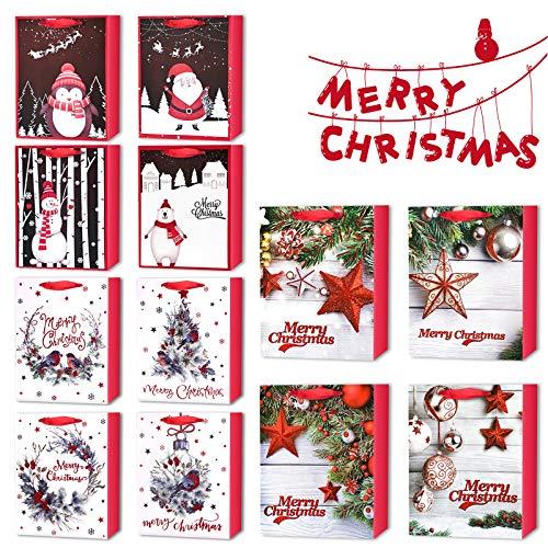LISOPO 12pcs Assortiment de Sacs Cadeaux de Noël Emballage Cadeaux de Noël Sacs en Papier avec Poignées de Ruban