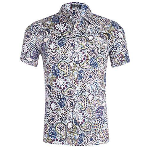 Camisas Hawaianas Hombre Manga Corta Camisas Estampadas Flores Camisa Delgada Suave Ligero Transpirable Personalidad Hombres Moda Verano Vacaciones Tops Streetwear Casual Shirt Playa Fiesta(L,S)