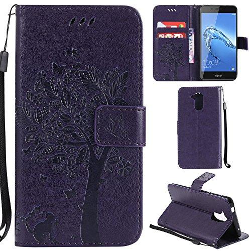 Ooboom® Huawei Honor 6C Hülle Katze Baum Muster Flip PU Leder Schutzhülle Handy Tasche Hülle Cover Standfunktion mit Kartenfächer für Huawei Honor 6C - Lila