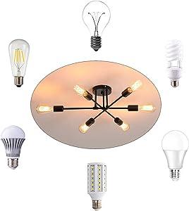 XIPUDA 6-Light Adjustable Sputnik Chandeliers Modern Pendant Light Fixture Mid Century Ceiling Light for Home Office Store