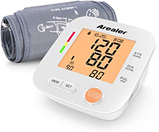 Blood Pressure Monitor Upper Arm, Arealer Automatic Blood Pressure Monitor Large Cuff, Digital Bp Cuff with Blood Pressure and Pulse Rate for Home Use, 2 * 90 Memory Mode, Batteries and Bag Included