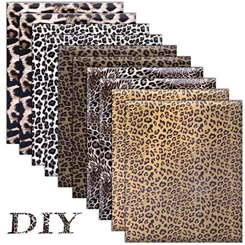 SAVITA 10 Blatt 30x25cm Leopard Wärmeübertragung HTV Vinyl, Wärmeübertragung Vinyl Eisen auf HTV für Kleidung, T-Shirts, Hüte, DIY Basteldekoration (5 Designs)