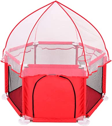 WJSW Baby Toys Kids Activity Centre Infant Playpens Toy Tents Breathable Mesh Crawling Fence Safety Household Protective Portable Indoor Kids Activity Center Red Safety