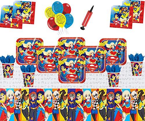 DC Super Hero Mädchen Party Supplies Kinder Geburtstag Geschirr Dekorationen DC Comics Party Pack 16 - Super Mädchen Luftballons Plate Cup Serviette Tischdecke