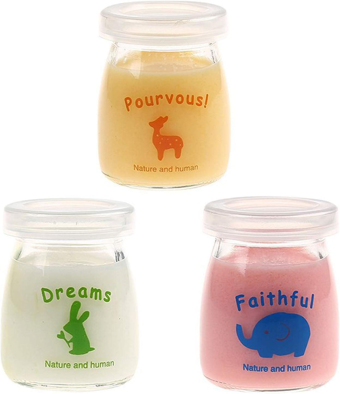Jeffrey 3 Piezas Botellas de Yogur, Frascos de Vidrio para Leche, Frascos de Vidrio para Yogur, Frascos de Vidrio para Leche, para Regalos de Fiesta, Regalos de Boda, Baby Shower