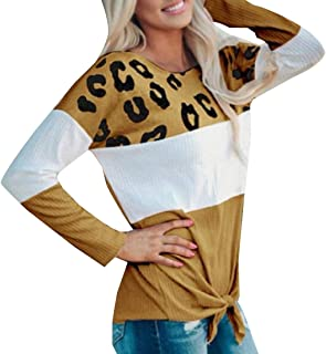 GAGA Women Casual Color Block Long Sleeve Tie Bow Pullover Tops Loose Lightweight Tunic Shirts