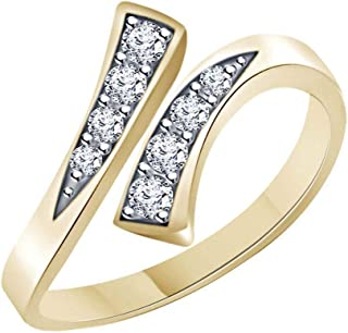 0.10 Ctw Round Cubic Zirconia New Style Adjustable Toe Ring 925 Sterling Silver