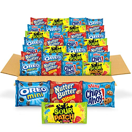 OREO Mini Cookies, CHIPS AHOY! Mini Cookies, SOUR PATCH KIDS Candy \& Nutter Butter Bites Cookies \& Candy Variety Pack, 32 Snack Packs