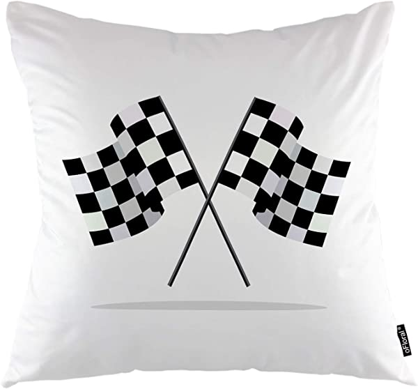 OFloral Race Throw Pillow Cover Waving Finish Flags Automotive Shadow Effect Decorative Pillow Case Home Decor For Sofa Bedroom Liveroom 18x18 Inch Pillowcase