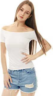 Women's Slim Fit Short Sleeves Off The Shoulder Cropped Top
